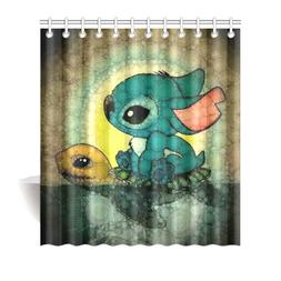 New Shower Curtain Custom Lilo And Stitch Turtle Waterproof