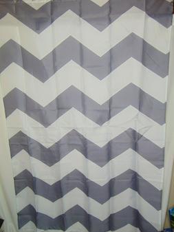 NEW Shower Curtain Grey and White Chevron Fabric Shower Curt