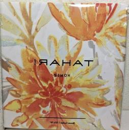 "NEW TAHARI Home Shower Curtain ""Martina""  White/Orange Multi"
