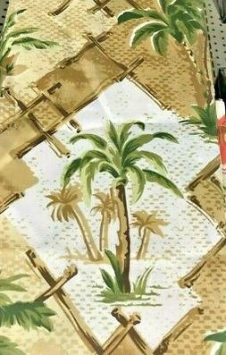 New Tan~Brown~Green Palm Trees~Leaves~Tropical Bamboo Fabric