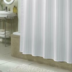 NEW White Damask Stripe Fabric Shower Curtain Liner One Size