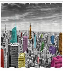 New York City Skyline Panoramic Art Picture Shower Curtain E