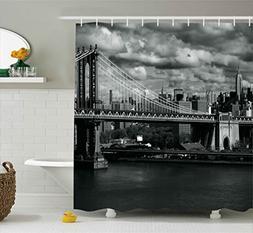 Ambesonne New York Shower Curtain, Black and White Panorama