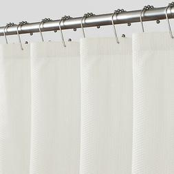 Maytex Norwich Textured Fabric Shower Curtain Liner White Fr