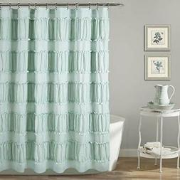 """Lush Decor Nova Ruffle Shower Curtain, 72"""" x 72"""", Blue"""