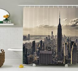 Ambesonne NYC Decor Shower Curtain, Aerial View of NYC in Wi