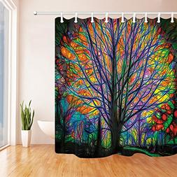 NYMB Creative Trees Decoration Bath Curtain, Colorful Waterc