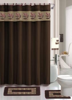 Oakland Coffee 18-piece Bathroom Set: 2-rugs/mats, 1-fabric