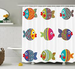 Ambesonne Ethnic Shower Curtain, Boho Ethnic Featured Ornate