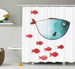 Ocean Animal Decor Shower Curtain by Ambesonne, Cute Chubby