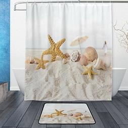 ALAZA Set of 2 Ocean Beach Sea Theme 60 X 72 Inches Shower C