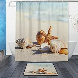 ALAZA Set of 2 Ocean Beach Sea Waves 60 X 72 Inches Shower C