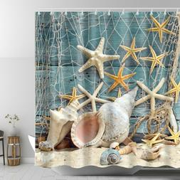 Seashell Beach Shower Curtain Starfish Conch Waterproof Fabr