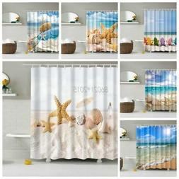Ocean Beach Style Bathroom Shower Curtain Shell Print Waterp