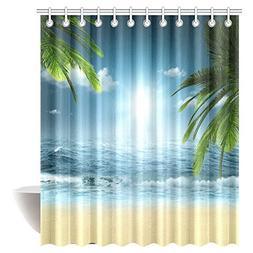 InterestPrint Ocean Beach Theme Decorations Shower Curtain,