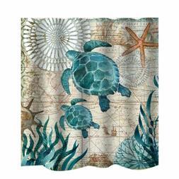 Ocean Coral Turtle Shower Curtain Waterproof Fabric Bathroom
