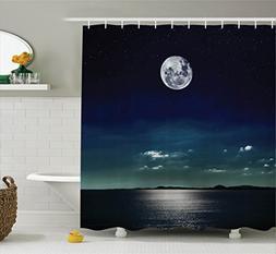 Ambesonne Ocean Decor Shower Curtain Set, Full Moon Reflecte