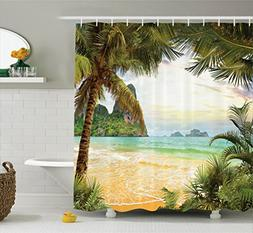 Ambesonne Ocean Decor Shower Curtain Set, Palm Coconut Trees