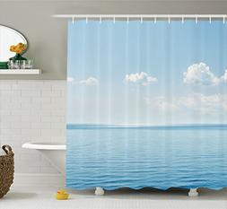 Ambesonne Ocean Decor Shower Curtain Set, Aquatic Seascape W