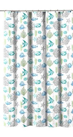 Ocean Sea Life Fish Theme Canvas Fabric Shower Curtain: Teal