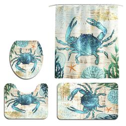 4pcs Shower Curtain Set Ocean Series with 12 Hooks and Toile