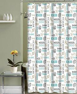 Tribeca Bath Collection Ocean Shells Theme Fabric Shower Cur