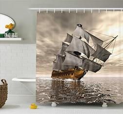 Ambesonne Ocean Shower Curtain by, 3D Style Pirate Ship Sea