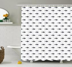 Ambesonne Ocean Shower Curtain, Hand Drawn Sketchy Sealife S