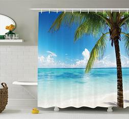 Ambesonne Ocean Shower Curtain, Exotic Beach Water and Palm