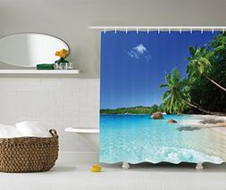 Ocean Shower Curtain Set Beach Decor by Ambesonne, Tropical