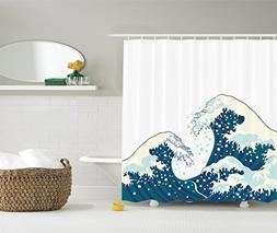 Ambesonne Ocean Shower Curtain The Great Waves of Kanagawa D