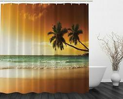 Ambesonne Ocean Shower Curtain Palms Sunset Digital Print Ar