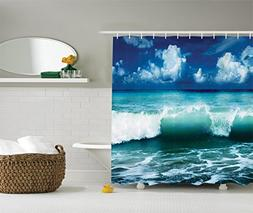 Ambesonne Ocean Shower Curtain Surf Waves Decor by, Caribbea