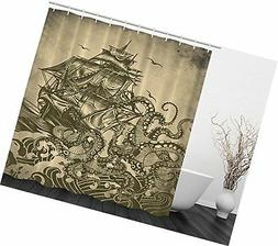 Ambesonne Ocean Shower Curtain Sail Boat Waves and Octopus K