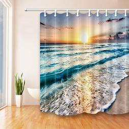 Ocean Theme Shower Curtain golden sunshine beach wave Bathro