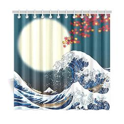 InterestPrint Ocean Wave Decor For Bathroom, Full Moon Two B