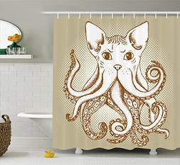 Ambesonne Octopus Decor Collection, Octopus with Cat Head Il