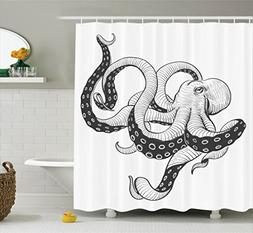Ambesonne Octopus Decor Collection, Octopus Vintage Style Il
