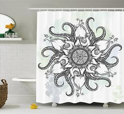 Ambesonne Octopus Decor Shower Curtain, Trippy Nautical Mand