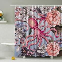Ambesonne Octopus N' Roses Print Shower Curtain