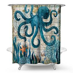 Econie Octopus Shower Curtains Ocean Animal Landscape Waterp