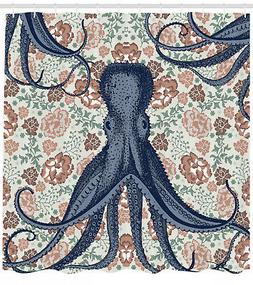 Octopus Shower Curtain Animal on Retro Flowers for Bathroom
