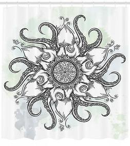 Octopus Shower Curtain Drawn Mandala Flower Print for Bathro