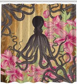 Octopus Shower Curtain Kraken Roses Leaves Print for Bathroo
