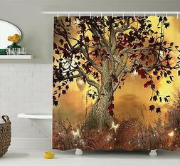 Ambesonne Old Twisted Tree Print Polyester Fabric Shower Cur