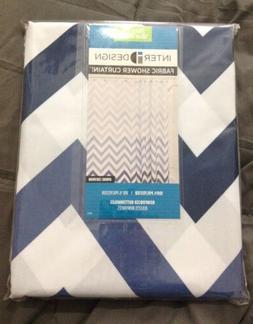 InterDesign Ombre Chevron Blue White Fabric Shower Curtain S