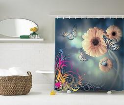 Ombre Garden Fabric Artistic Gerbera Flowers Shower Curtain
