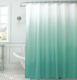 Ombre Marine Blue Fabric Shower Curtain - Metal Roller Hooks