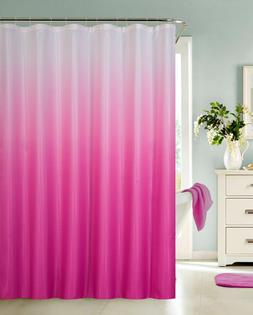 Ombre Waffle Fabric Shower Curtain with 12 Metal Roller Hook