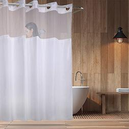 On Hookless Shower Curtain with Light Filtering Mesh Screen